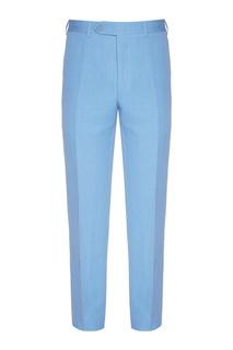 Голубые брюки из шелка и льна Canali