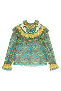 Блузка из хлопка и шелка с вышивкой Gucci