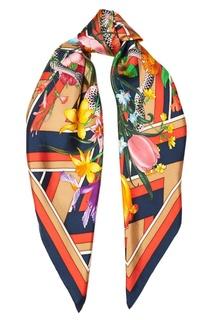 Шелковый платок с цветами Gucci