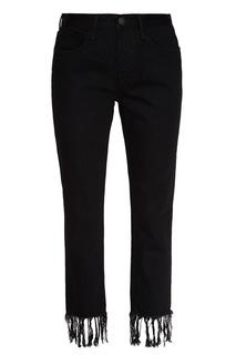 Черные джинсы с бахромой по низу 3х1