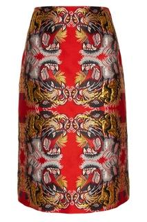 Жаккардовая юбка-карандаш с тиграми Gucci