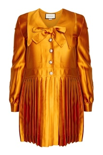 Платье с плиссированным подолом Gucci