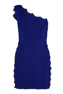 Синее платье с аппликацией David Koma