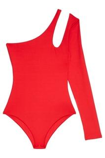 Красное боди с вырезом на плече Helena Bodypoetry