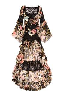 Шелковое платье-макси с цветами Dundas