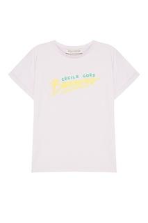 Фиолетовая футболка с принтом Etre Cecile