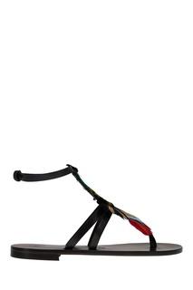 Кожаные сандалии с перьями Alvaro