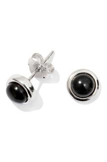 Серебряные серьги с черными камнями Exclaim