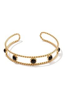 Золотистый серебряный браслет с черным ониксом Exclaim