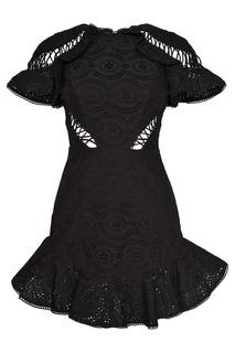 Черное платье из вышитого хлопка Zimmermann