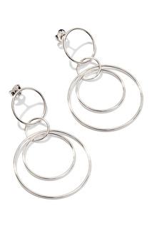 Серебряные серьги с кольцами Exclaim