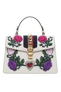 Кожаная сумка с цветами Sylvie Gucci