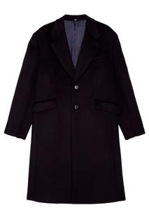 Темно-синее драповое пальто Prada
