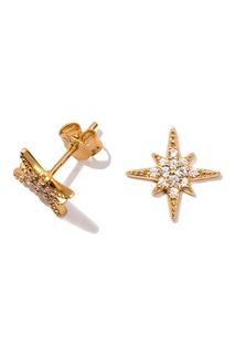 Серьги-звезды серебряные с кристаллами Exclaim