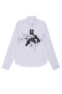 Хлопковая рубашка с принтом Prada