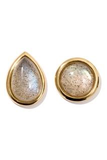 Серьги-гвоздики серебряные с камнями Exclaim