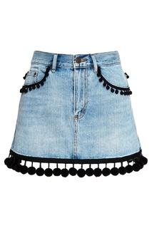 Джинсовая юбка с помпонами Marc Jacobs