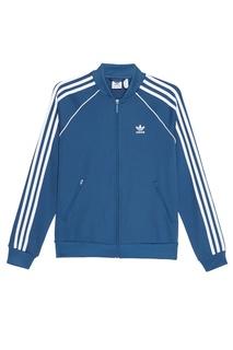 Голубая олимпийка с полосками на рукавах Adidas