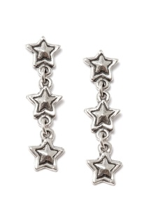 Серебристые серьги со звездами Philippe Audibert