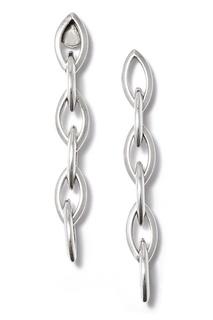 Серебристые серьги-цепочки Philippe Audibert