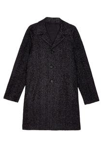 Серое шерстяное пальто Prada