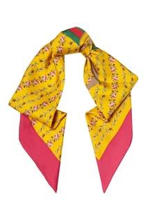 Желтый шелковый платок с цветами Gucci