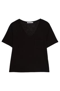 Черная футболка с овальным вырезом T by Alexander Wang