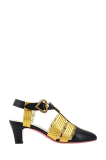 Черные туфли с золотистыми перемычками Gucci