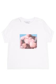 Хлопковая футболка с фотопринтом Forte Couture