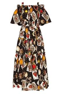 Хлопковое платье с картами Dolce & Gabbana