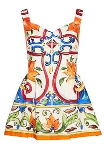 Хлопковый топ с принтом «майолика» Dolce & Gabbana