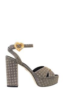 Серебристые текстильные босоножки Dolce & Gabbana