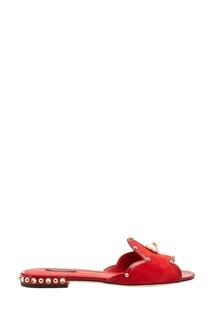 Красные слиперы из замши Dolce & Gabbana