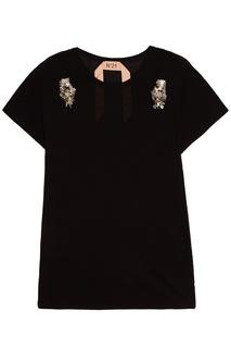Черная футболка с вышивкой No.21