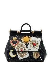 Кожаная сумка с принтом Sicily Dolce & Gabbana