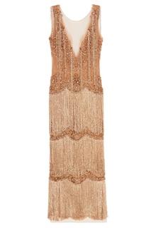 Золотистое платье с бахромой Marchesa