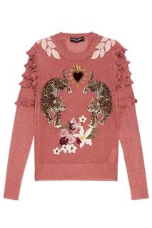 Розовый джемпер из люрекса с леопардами Dolce & Gabbana