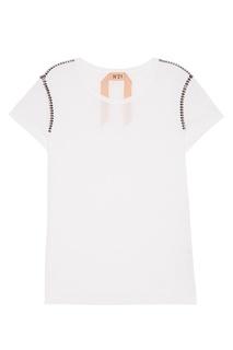 Белая футболка с кристаллами No.21