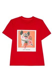 Красная футболка с принтом Mo&Co