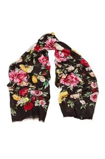 Черный платок с цветами Dolce & Gabbana