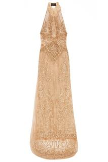 Бежевое платье с вышитыми узорами Dundas