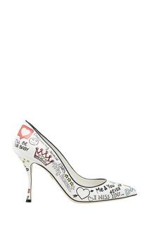 Белые кожаные туфли с принтом Dolce & Gabbana