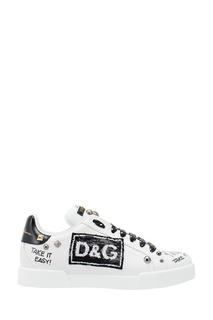 Белые кроссовки с декором Dolce & Gabbana