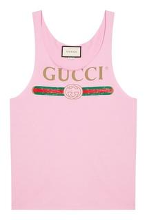 Фиолетовая майка с логотипом Gucci