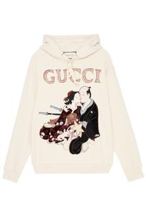 Хлопковое худи с японским рисунком Gucci