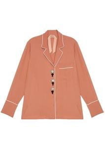 Бежевая блузка с пуговицами-кристаллами No.21