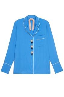 Голубая блузка с пуговицами-кристаллами No.21