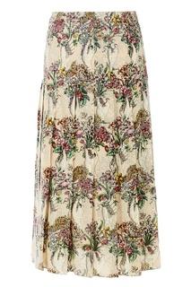 Шелковая юбка с принтом и кристаллами Gucci