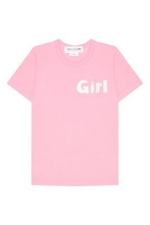 Розовая футболка из хлопка Comme des Garcons Girl