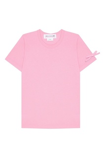 Розовая футболка с бантами на рукавах Comme des Garcons Girl